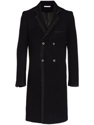 Lot 78 Lot78 Double Breasted Wool Blend Overcoat Black