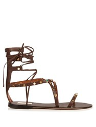 Valentino Rolling Rockstud Leather Gladiator Sandals Brown Multi