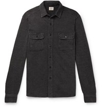 Faherty Cotton Dobby Overshirt Charcoal