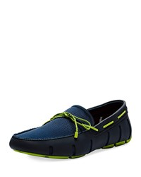 Swims Mesh And Rubber Braided Lace Boat Shoes Blue