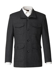 Limehaus Men's Jaxon Charcoal Puppytooth Overcoat Charcoal