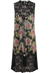 Paco Rabanne Floral Print Chainmail And Corded Lace Dress Black