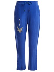 Mhi Eagle Embroidered Silk Trackpants Blue