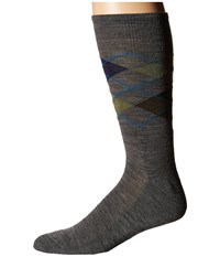 Smartwool Diamond Jim Deep Navy Heather Medium Gray Heather Men's Crew Cut Socks Shoes Black
