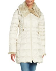 Laundry By Shelli Segal Faux Fur Trimmed Hooded Puffer Down Coat Pearl