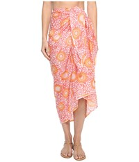 Hat Attack Printed Sarong Cover Up Coral Medallion Scarves Pink