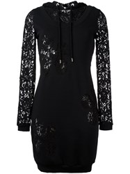 Moschino Lace Panel Hoodie Dress Black