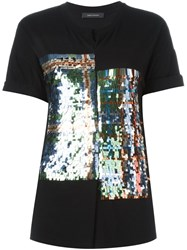 Cedric Charlier Sequined Tartan Pattern T Shirt Black
