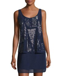 Laundry By Shelli Segal Allover Beaded Popover Cocktail Dress Dark Blue
