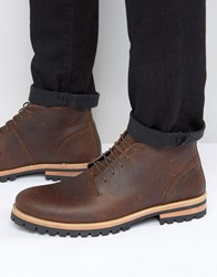 Asos Lace Up Boots In Brown Leather With Cleated Heavy Sole Brown
