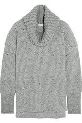 Sonia Rykiel Ribbed Wool Blend Turtleneck Sweater Gray