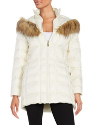 Betsey Johnson Faux Fur Trimmed Hooded Mid Length Puffer Coat Ivory