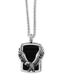 Effy Men's Onyx 31 X 20Mm Eagle Pendant Necklace In Sterling Silver And Black Rhodium