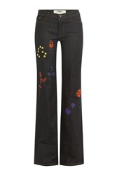 Fendi Embroidered Flared Jeans Blue