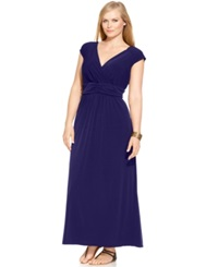 Ny Collection Plus Size Sleeveless Ruched Empire Waist Maxi Dress