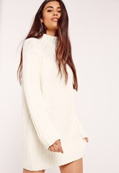 Missguided Oversized Knitted Mini Dress White