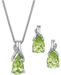 Macy's Peridot 2 1 5 Ct. T.W. And Diamond Jewelry Set In Sterling Silver