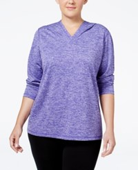 Ideology Plus Size Hooded Heathered Top Only At Macy's Blazing Purple