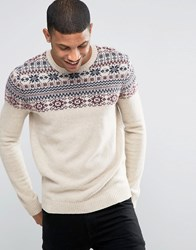 Asos Lambswool Rich Jumper With Yoke Fairisle Detail Beige