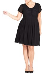 City Chic Plus Size Allure Pleated Fit And Flare Dress Black