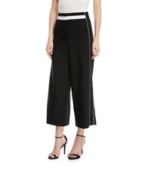Laundry By Shelli Segal Sport Striped Wide Leg Cropped Pants Black