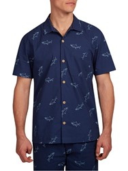 Hymn Frenzy Short Sleeve Shark Shirt Navy