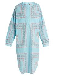 Natasha Zinko Geometric Paisley Print Cotton Shirtdress Blue Print