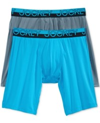 Jockey Men's Sport Mesh Midway Briefs 2 Pack Real Turquoise Iron Grey