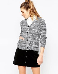 Ichi Grey Marl Cardigan Salt And Pepper