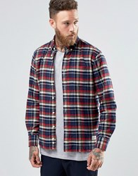 Penfield Barrhead Check Button Shirt In Regular Fit Brushed Cotton Red