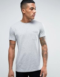 Solid T Shirt With Pocket And Raw Neck In Grey Grey