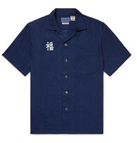 Blue Blue Japan Camp Collar Indigo Dyed Printed Cotton Shirt