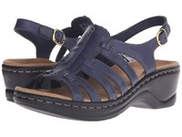 Clarks Lexi Marigold Q Navy Leather Women's Sandals Blue