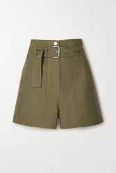 3.1 Phillip Lim Belted Cotton Twill Shorts Army Green