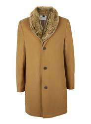 Topman Brown Camel Wool Rich Faux Fur Collar Overcoat