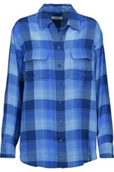 Equipment Femme Checked Washed Silk Shirt Blue