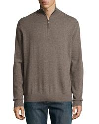 Neiman Marcus Zip Front Cashmere Pullover Sweater Brown