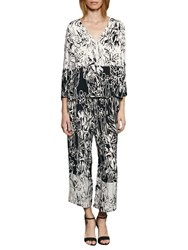 French Connection Copley Printed Crepe Blouse Summer White Black