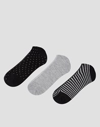 Pull And Bear 3 Pack Invisible Liner Socks Gray