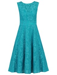 Jolie Moi Lace Bonded Fit And Flare Dress Teal