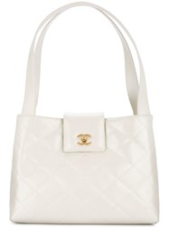 Chanel Vintage Quilted Tote White