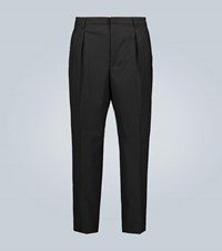 Valentino Wool Straight Leg Pants Black