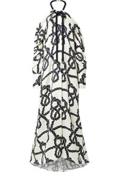 Monse Rope Trimmed Printed Silk Twill Halterneck Gown Ivory