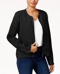 Rachel Roy Collarless Bomber Jacket Only At Macy's Black