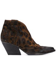 Strategia Leopard Cowboy Boots Brown