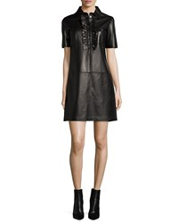 Michael Kors Short Sleeve Ruffle Front Leather Dress Black