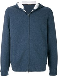 Loro Piana Zipped Hooded Jacket Blue