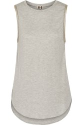 Haute Hippie Embellished Stretch Jersey Top Light Gray