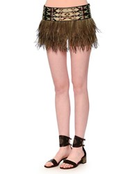Valentino Embroidered Emu Feather Mini Skirt Size 00 Nero