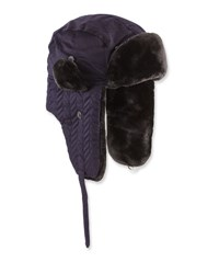Neiman Marcus Herringbone Quilted Faux Fur Trapper Hat Navy Black